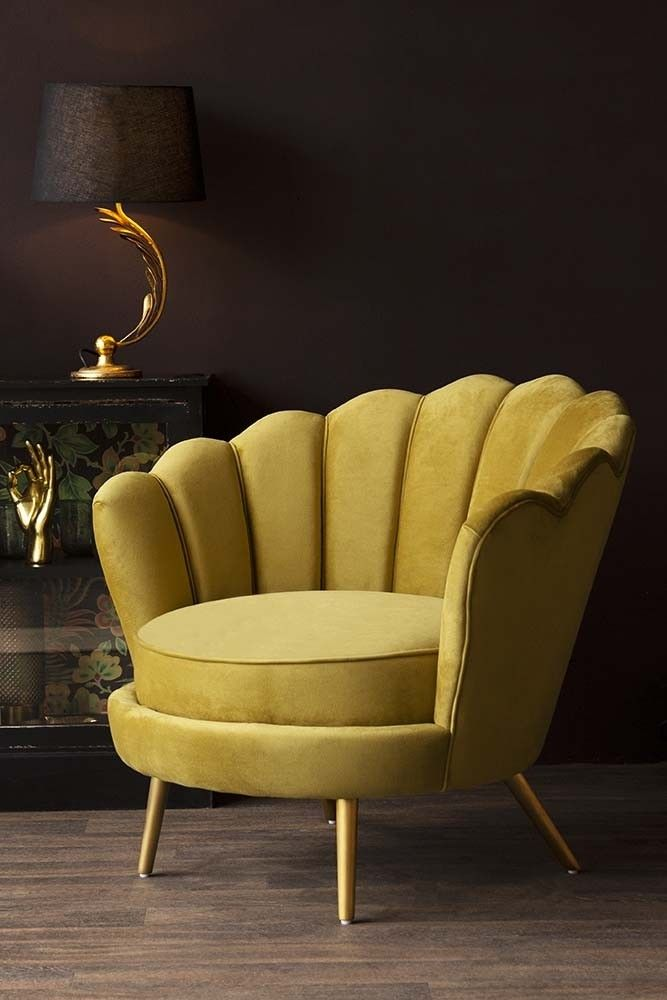 Ochre Gold Velvet Petal Occasional Chair