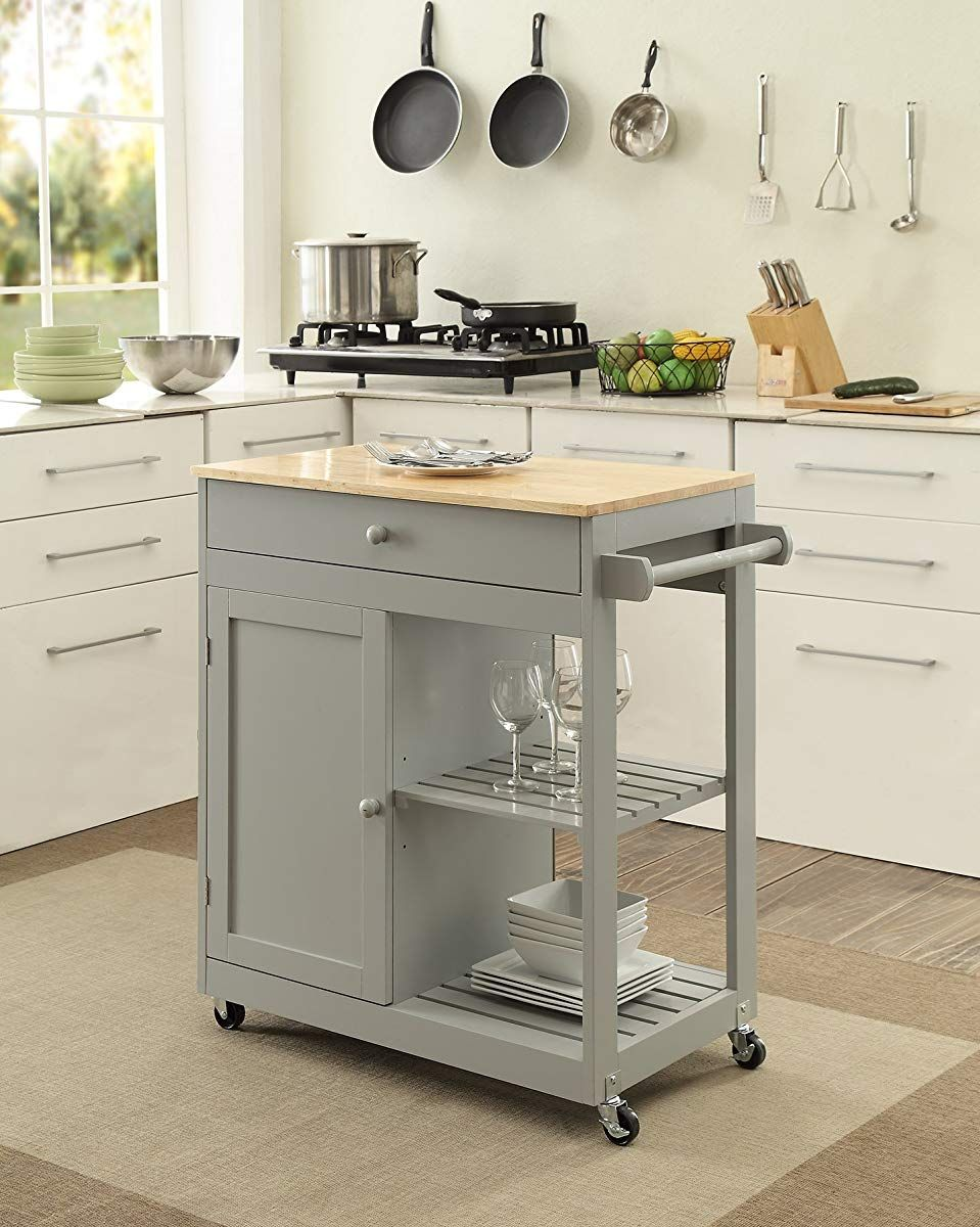 Oliver and Smith – Nashville Collection – Mobile Kitchen Island Cart on Wheels – Wooden Grey – Natural Oak Butcher Block – 30″ W x 17″ L x 36″ H