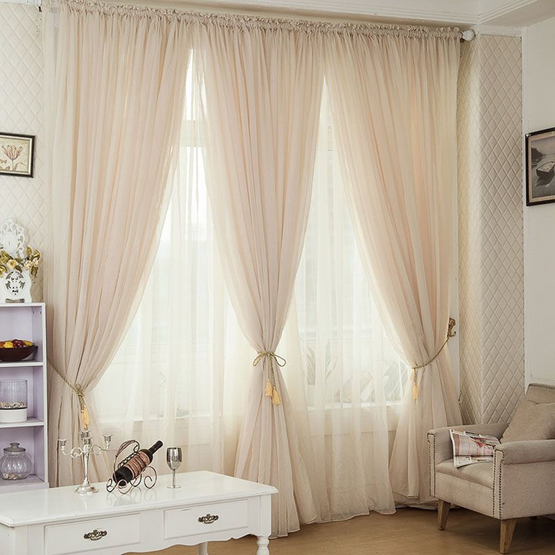 Online Shop Champagne color Pinch Pleated Drapes Rod pocket Voile curtain Window decoration Translucidus tulle curtains for living room   Aliexpress Mobile