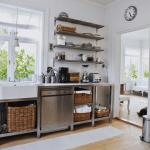Open shelves kitchen modern storage stainless steel