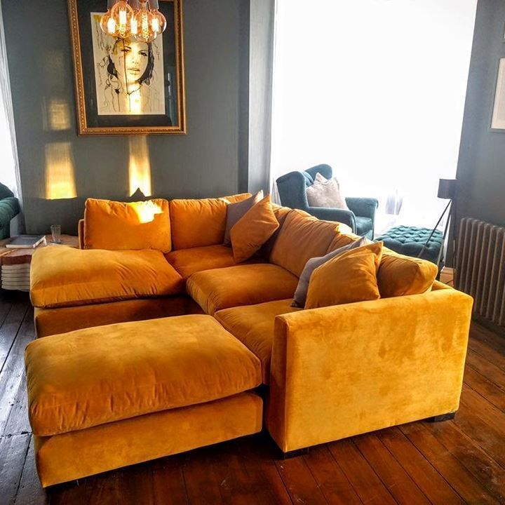 Orange velvet corner sofa sofas & stuff. Wadenhoe Corner Unit & Footstoolin Wari…