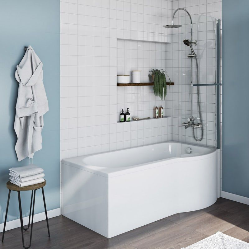 Orchard P shaped right handed shower bath with 6mm shower screen and rail