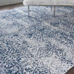 Orourke Abstract Ivory/Navy Blue Area Rug