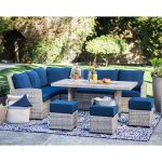 Outdoor Belham Living Brookville 6 Piece All Weather Wicker Sofa Sectional Patio Dining Set