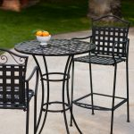 Outdoor Belham Living Wrought Iron Bar Height Bistro Set by Woodard
