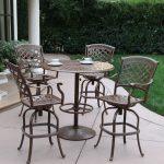 Outdoor Darlee Sedona 5 Piece Aluminum Counter Height Round Pedestal Patio Dining Set