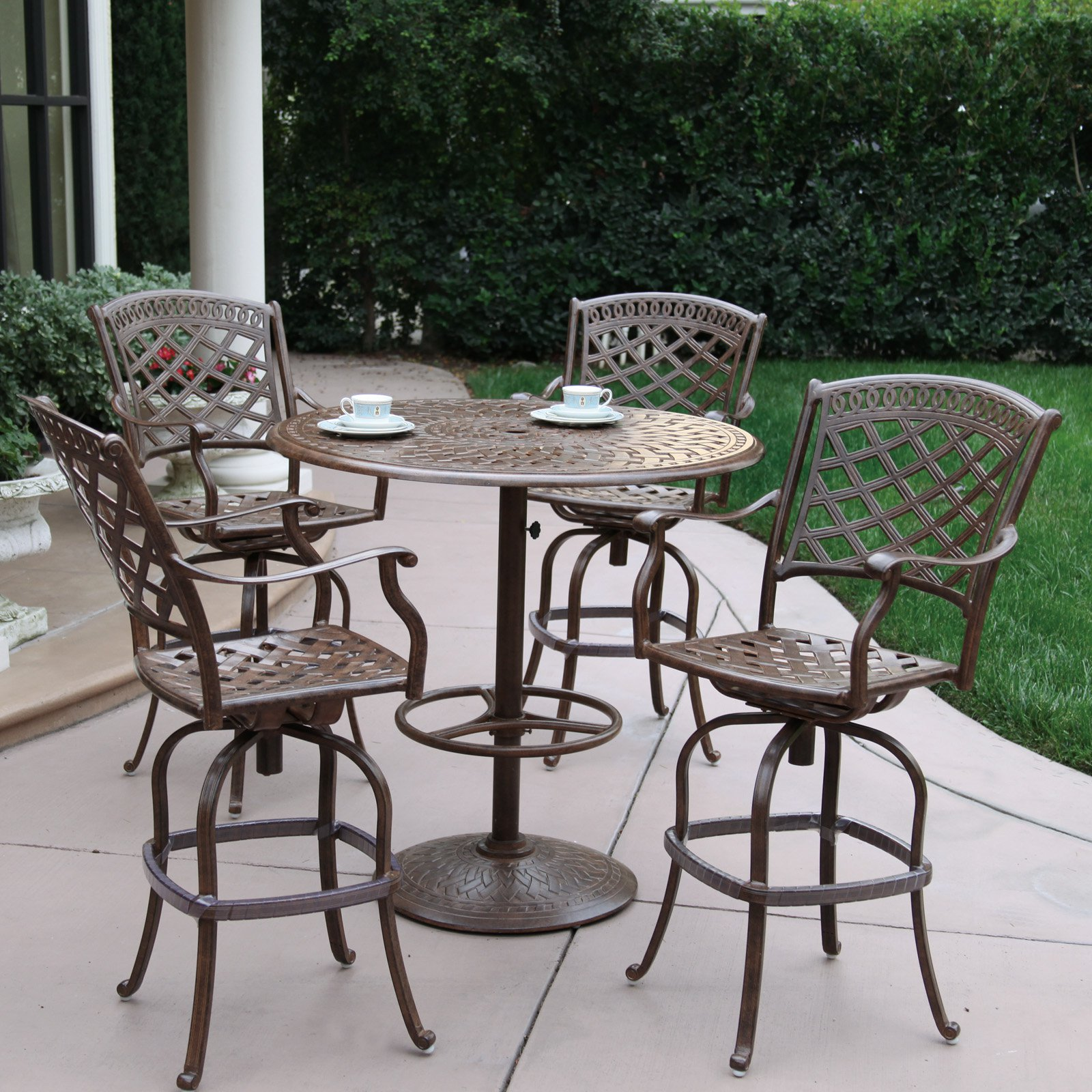 Outdoor Darlee Sedona 5 Piece Aluminum Counter Height Round Pedestal Patio Dining Set