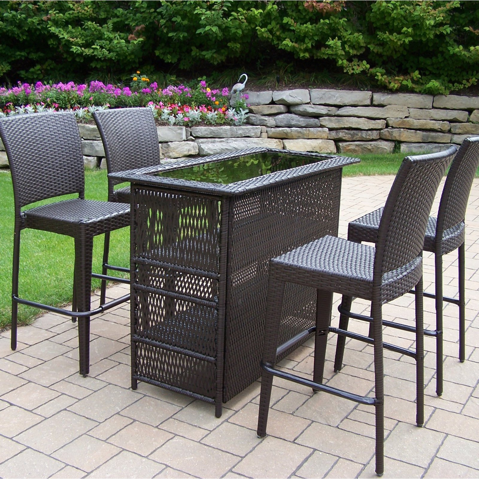 Outdoor Oakland Living All Weather Wicker Patio Bar Set