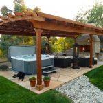 Outdoor. Unique Backyard Hot Tub Ideas. Fascinating Lounge Outdoor Gazebo Ideas ...