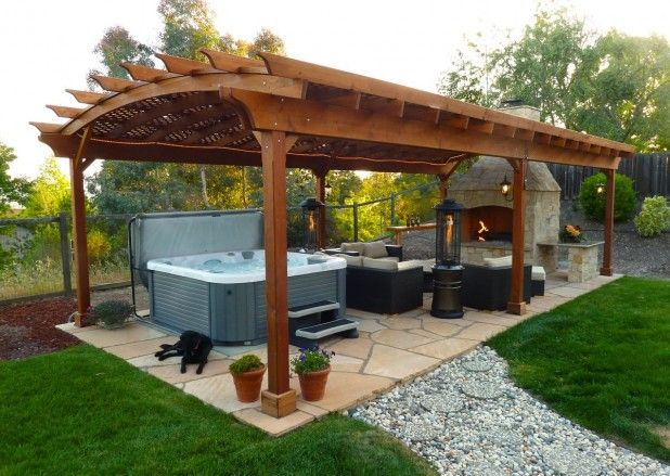 Outdoor. Unique Backyard Hot Tub Ideas. Fascinating Lounge Outdoor Gazebo Ideas …