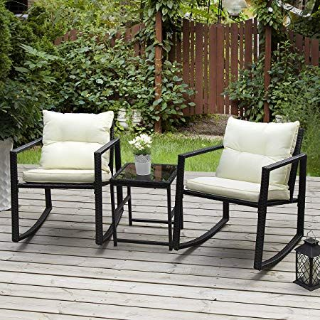PAMAPIC Outdoor 3-Piece Rocking Bistro Set, Black Wicker Patio Rocking Chairs-Two Chairs with Seat and Back Cushions Beige Sophisticated Glass Coffee Table