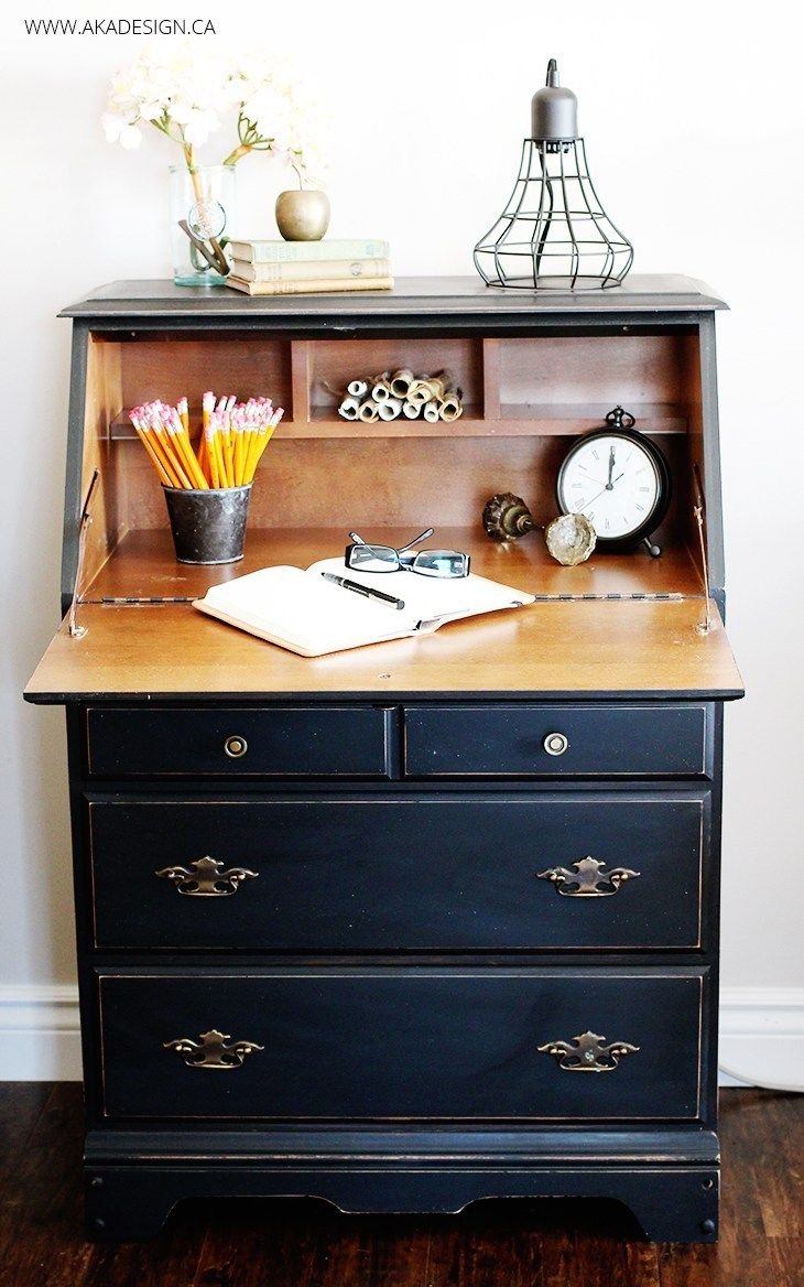 Painted Secretary Desk in Fusion Mineral Paint's Coal Black