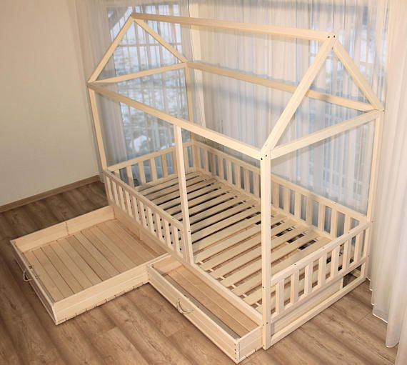 Painted toddler bed, children bed, Montessori bed, kid bed, wood bed, children home, waldorf toy, nursery crib, kids bedroom, floor bed – pickndecor.com/furniture