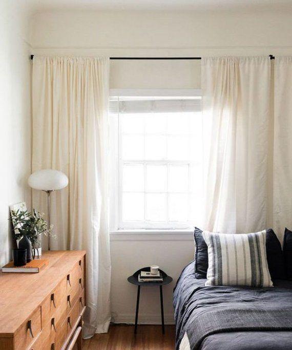 Pair of Cream linen curtains, ivory cream drapes window treatments, custom curtains, extra long curtains