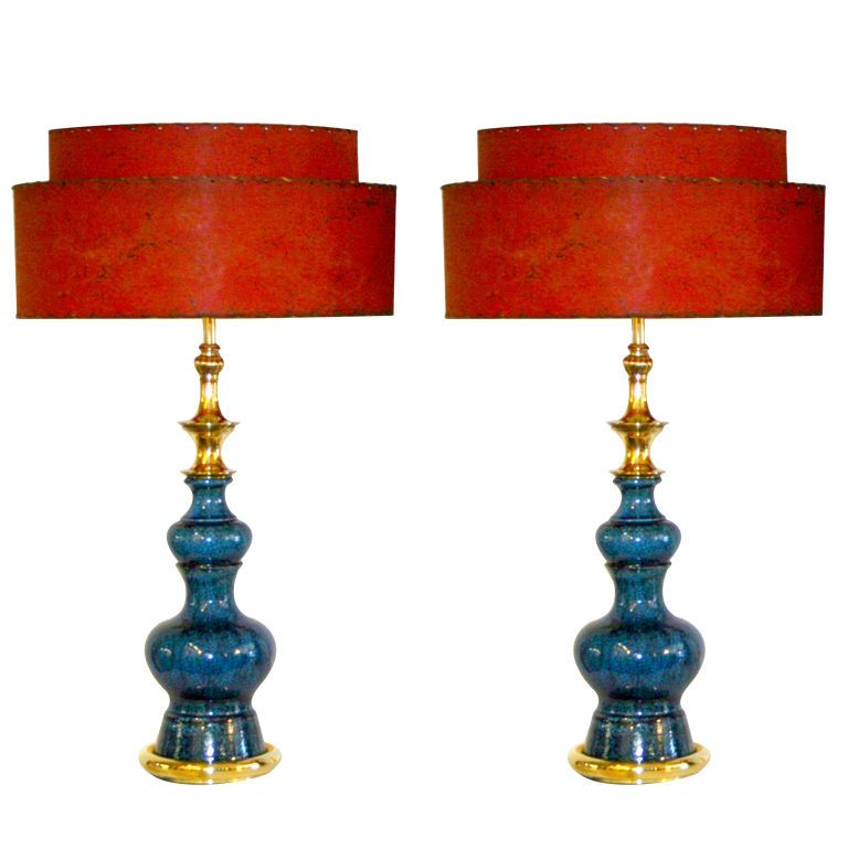 Pair of Vintage Stiffel Pottery Lamps