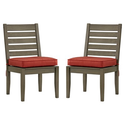 Parkview 5pc Wood Patio Round Dining Set with Side Chairs And Cushions – Grey/Re…
