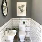 "Period Home & Interiors on Instagram: ""The little room with a wonderfully big tiling solution.. bother the metro wall tiles with coloured grout and the patterned floor tiles.…"""
