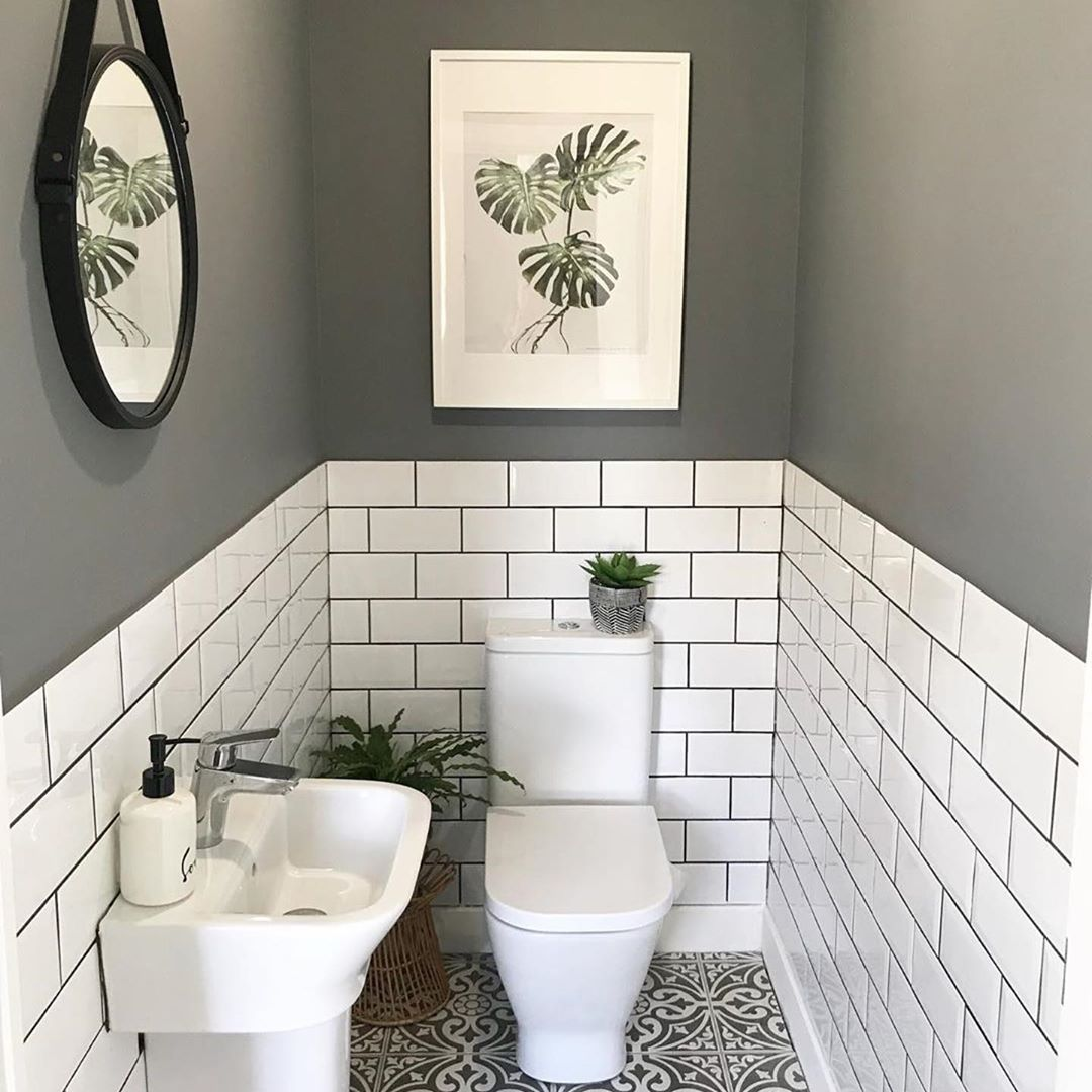 """Period Home & Interiors on Instagram: """"The little room with a wonderfully big tiling solution.. bother the metro wall tiles with coloured grout and the patterned floor tiles.…"""""""