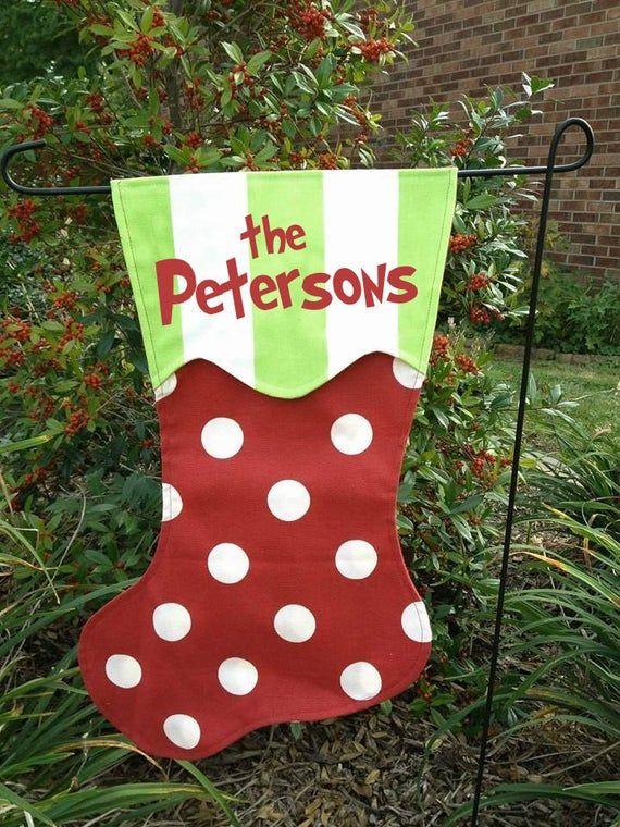 Personalized Christmas Stocking Garden Flag