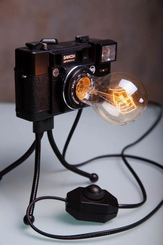 Photo Camera Lamp / Retro Light / Nightlight Lamp / Table decor / Bedroom Decor Lamps / Vintage Lamp / Floor Lamp /