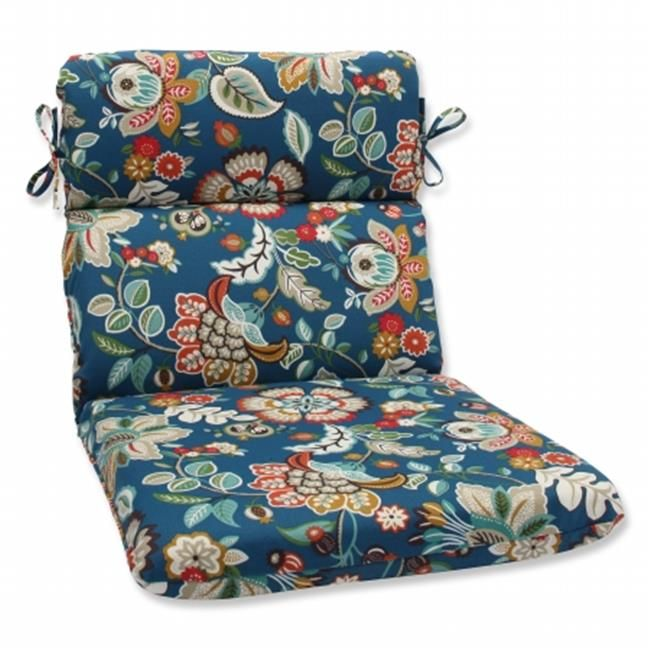 Pillow Perfect 573397 Telfair Peacock Rounded Corners Chair Cushion