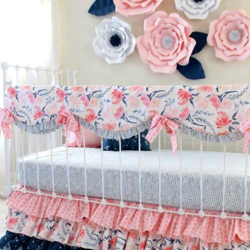 Pink and Navy Print Mix Watercolor Whispers Ruffle Crib Set – Lottie Da Baby