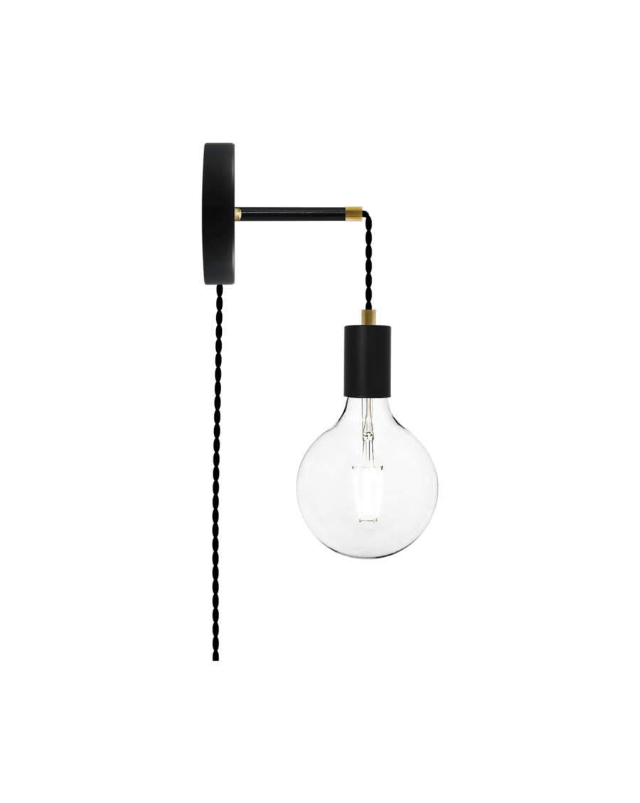 Plug-in Adjustable Wall Sconce: Black and Brass