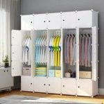 Portable Closet Clothes Wardrobe Bedroom Armoire Storage Organizer with Doors | Wish