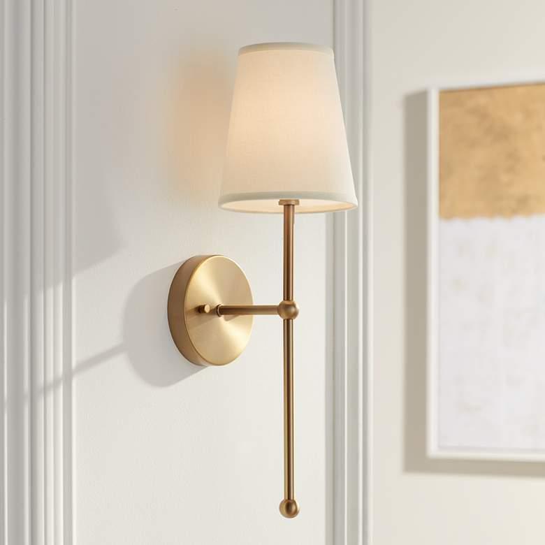 Possini Euro Elena 21″ High Warm Brass Wall Sconce – #24M95 | Lamps Plus