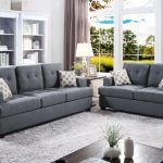 Poundex F7600 2 pc Latitude run eastway blue grey linen like fabric sofa and love seat set tufted backs - pickndecor/home