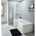 Premier 1500mm P Shaped Left Hand Whirlpool Shower Bath with 8 Jets The Jupiter ...