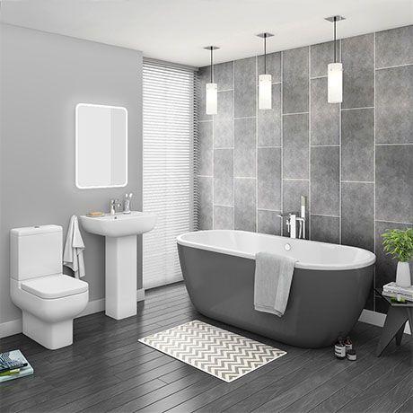 Pro 600 Grey Modern Free Standing Bath Suite | Victorian Plumbing UK