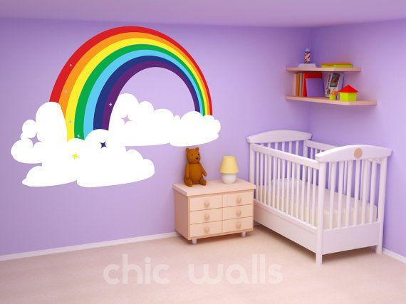 Rainbow & Clouds Wall Art Decor Dcal Sticker Mural Kids Room Home Nursery Decor