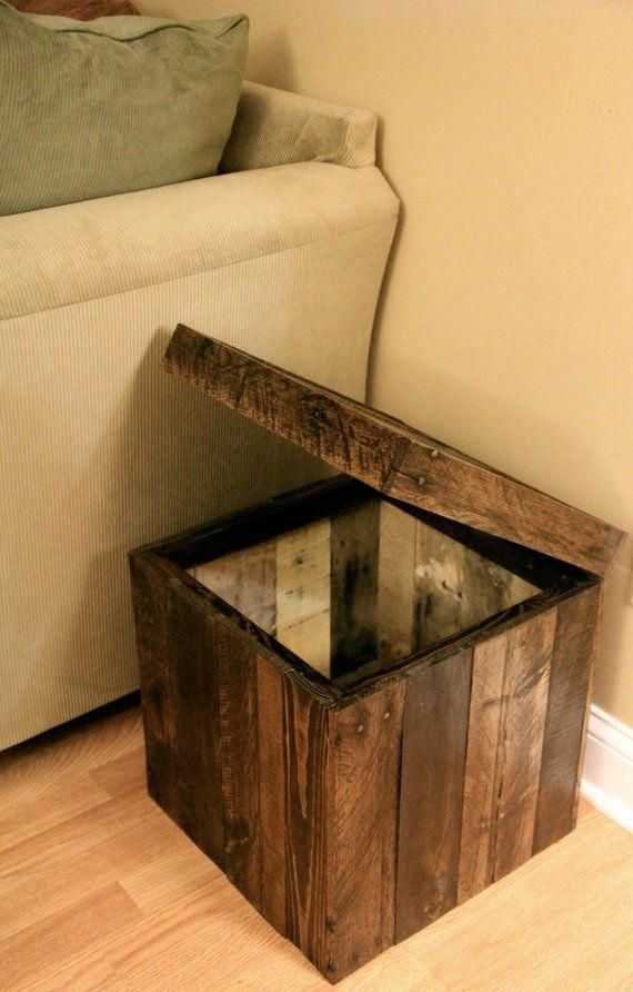 Reclaimed Pallet Wood Furniture – Storage Cubed Ottoman – Stained