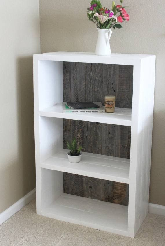 Reclaimed Wood Painted White and Grey Wood Bookshelf, Bookcase – Free Shipping