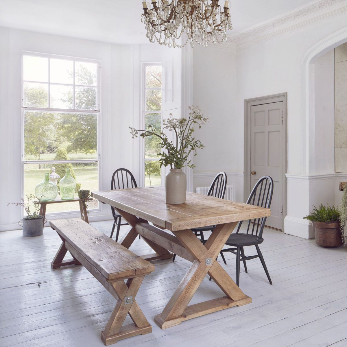 Reclaimed Wood Plank Trestle Dining Table | Home Barn