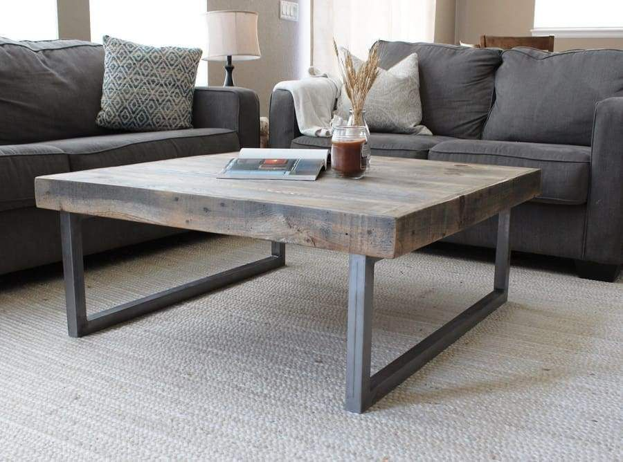 Reclaimed Wood and Metal Square Coffee Table, Tube Steel Legs – Free Shipping