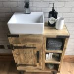 Reclaimed rustic industrial vanity unit with sink