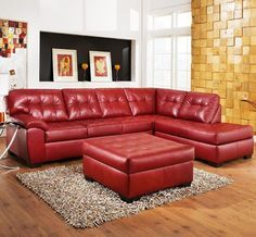 Red Leather Sofa With Chaise