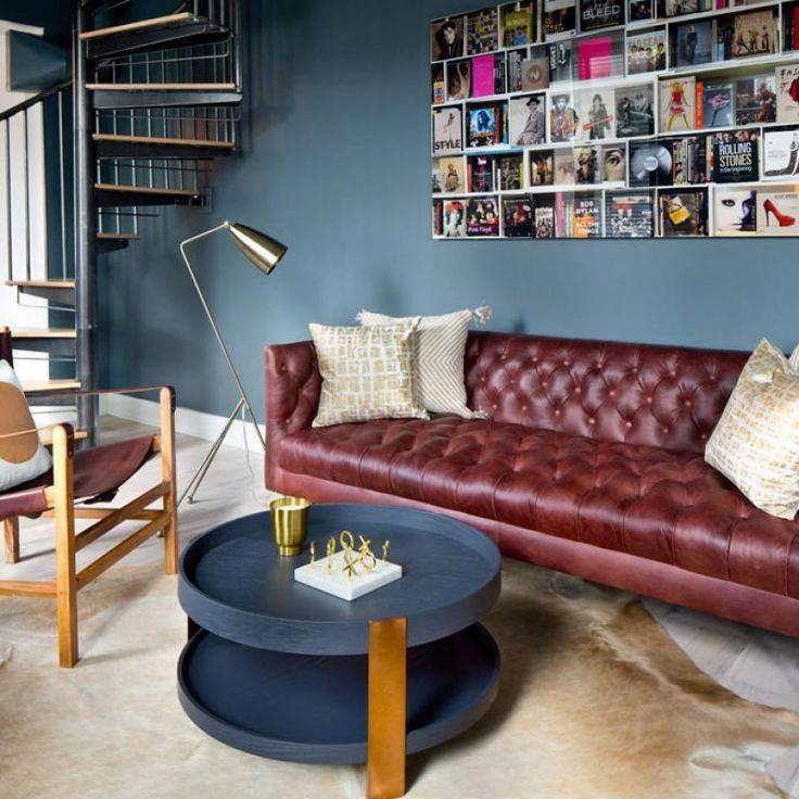 Red sofa blue accent wall living room #livingroomfurnitureindustrial