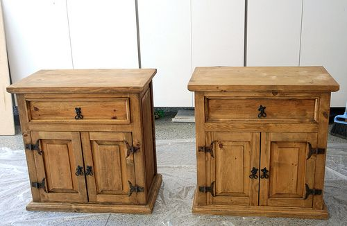 Refinish mexican pine….  Nightstands before they were painted. I am definately…