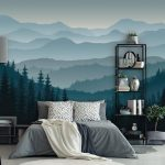 Removable Peel 'n Stick Wallpaper, Self-Adhesive Wall Mural, 3D Mountain Mural Wallpaper, Nursery • Ombre Blue Mountain Pine Forest Trees