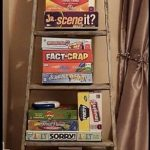 Repurposed Wooden Ladder to Board Game Storage