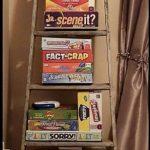 Repurposed Wooden Ladder to Board Game Storage