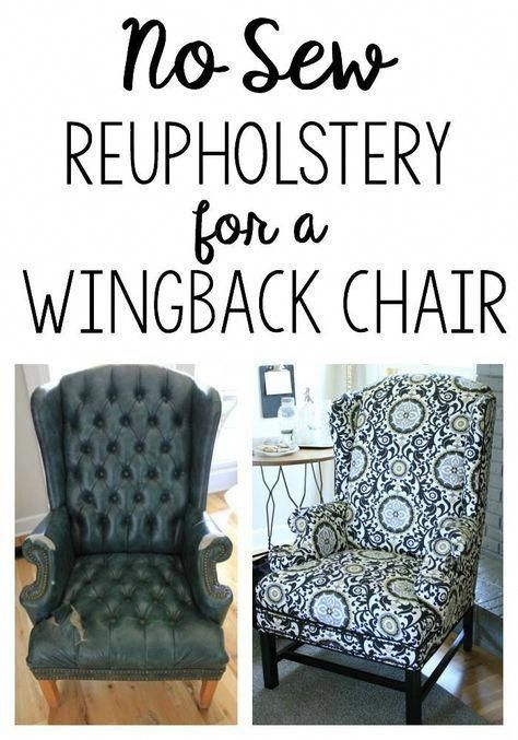 Reupholstering a Wingback Chair: a No-Sew method | Noting Grace