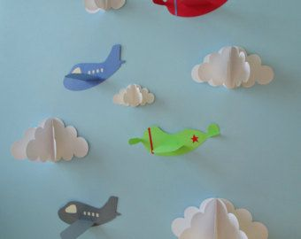 Rocket Ship 3D Wall Decals, Wall Decor, Wall Art, Boy's Nursery Decor