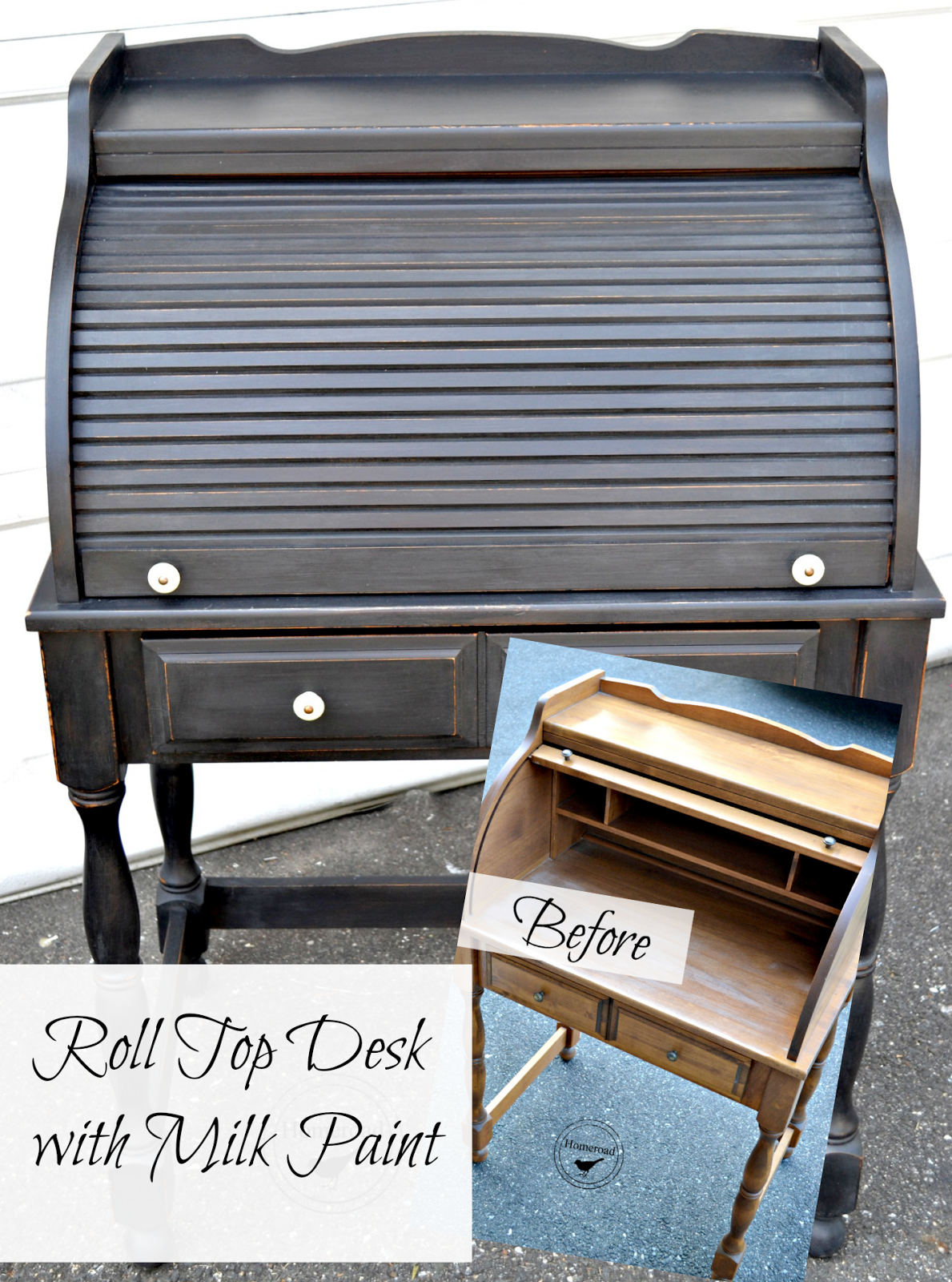 Roll Top Desk with Typewriter