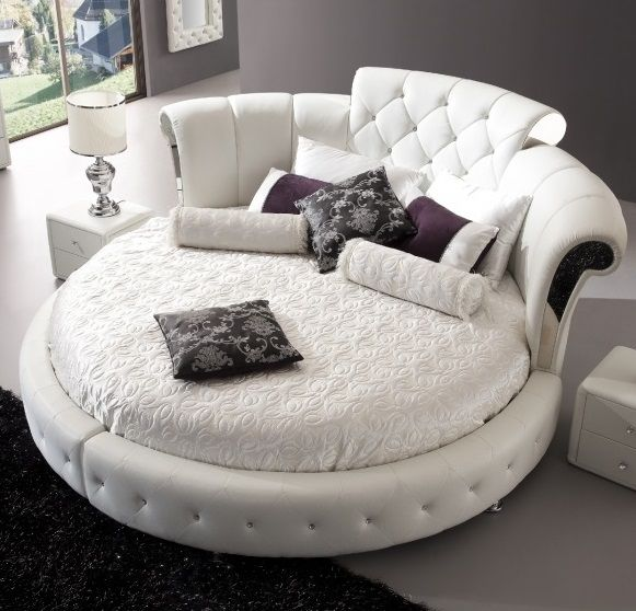 Romantica Round Chesterfield Style Bed In White Bonded Leather | Furniture in Fashion