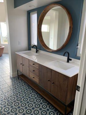 Room & Board –  Linear Steel Base Bathroom Vanity Cabinets with Top – Modern Bathroom Vanities – Modern Bath Furniture