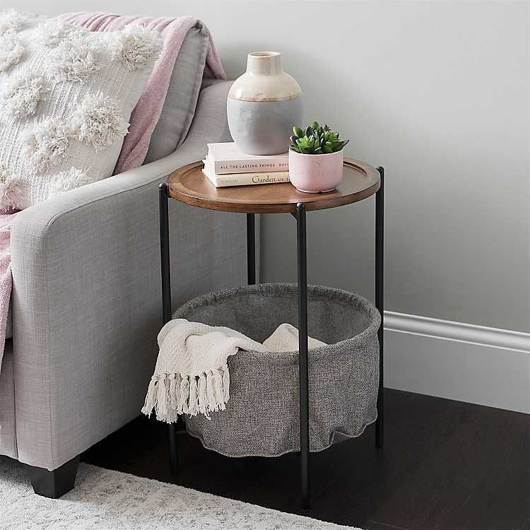 Round Wood Side Table with Fabric Basket Shelf